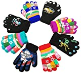 Kids Gloves, Magic Stretch Gloves 8 Pairs, Children Anti-Slip Full Fingers Knitted Winter Glove for Boys and Girls