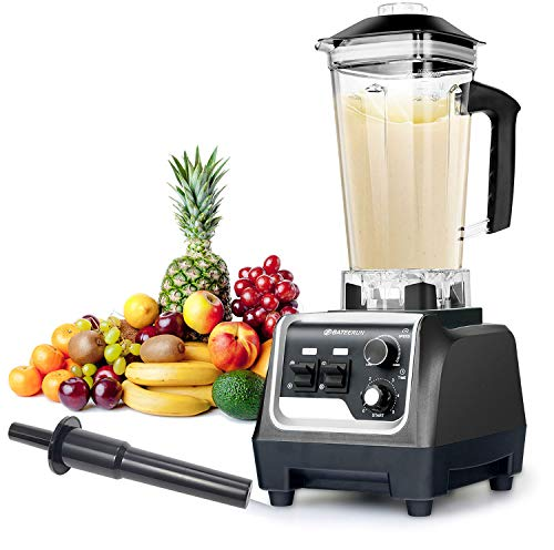 Blender Professional Countertop Blender, 2000W High Speed Smoothie Blender/Mixer for Shakes and Smoothies, commercial blender Crusing Ice, Frozen Desser with Timer, 68OZ BPA-Free Tritan Jar, Smoothie Maker BATEERUN (Black)