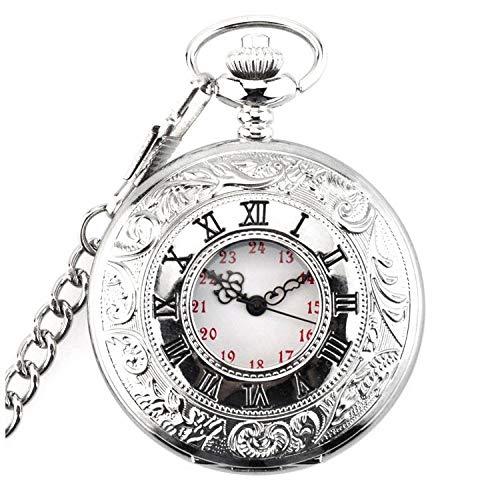NR Reloj de Bolsillo de Doble Pantalla con carácter Romano clásico, Collar Retro, Hombres y Mujeres, Reloj de Bolsillo Antiguo Tuo, Cara Blanca, Letra roja, Cadena de Cintura