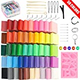 50 Colors Polymer Clay Set Oven Bake Clay, 2 Hardness Options, Tomorotec CPSC Conformed Non-Toxic Molding DIY Clay Air Dry Assorted Colorful Clay with Sculpting Tools for Kids,Artists (Harder)
