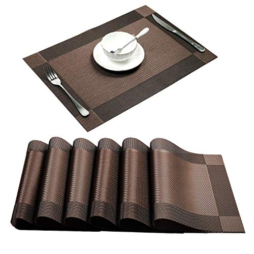 YumSur Placemats Set of 6 for Dining Table Washable PVC Woven Vinyl...