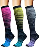 3/5 Pairs Compression Socks Women & Men - Best Medical,Nursing,Hiking,Travel & Flight Socks-Running & Fitness (S/M)