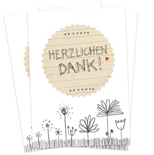 10 Dankeskarten - Herzlichen Dank! - mit Blumen, Danksagungskarten Set aus Recyclingpapier in Weiß Grau Beige für deine Hochzeit, Geburtstag, Taufe etc.
