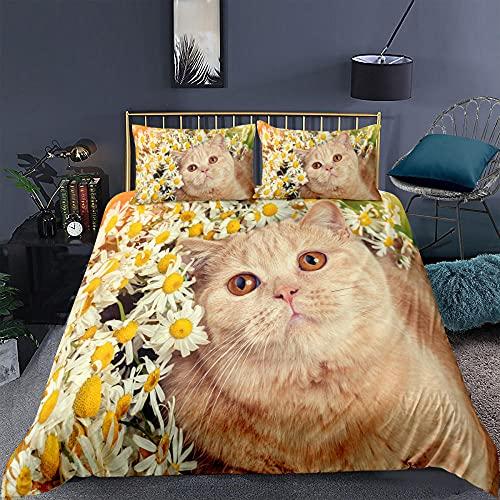 Påslakan sängkläder kattunge djur supermjukt och mysigt lättskött påslakan täcke sängkläder set - 220 x 230 cm + 2 matchande örngott - 50 x 75 cm