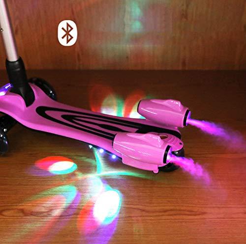 Trottinette Enfant 3 Roues - Patinette Débutante Avec Spray Et 9 Chansons - T-Bar Ajustable Pour Garçons Et Filles De 3-8 Ans Avec Roues Lumineuses,Pink