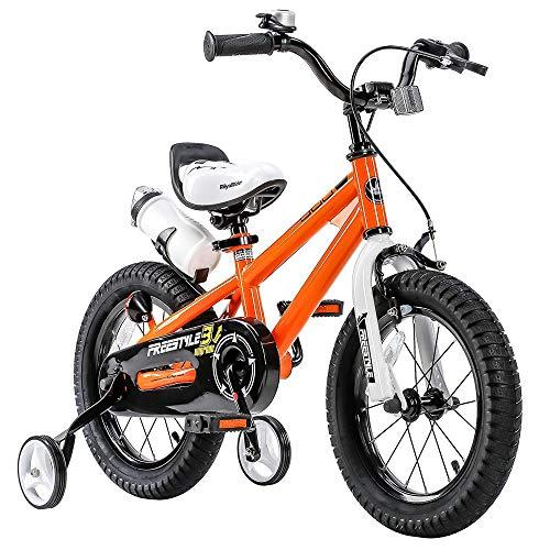 Royalbaby RB16B-6O BMX Freestyle Kids Bike, Boy's Bikes and Girl's Bikes with Training Wheels, Gifts for Children, 16 inch Wheels, Orange