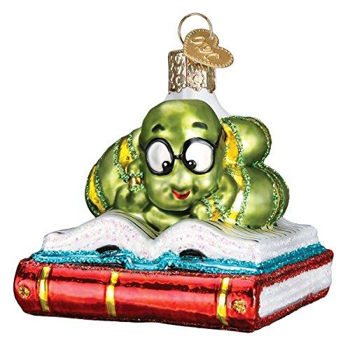 Old World Christmas 12514 Teacher Gifts Glass Blown Ornaments, Bookworm