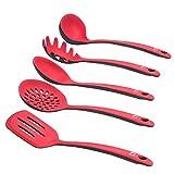 Levivo Set de utensilios de cocina de silicona / 5 cubiertos de cocina, menaje de cocina, utensilios de cocina, paleta, espumadera, cucharón, cuchara para espaguetis, cuchara salsera, rojo/negro