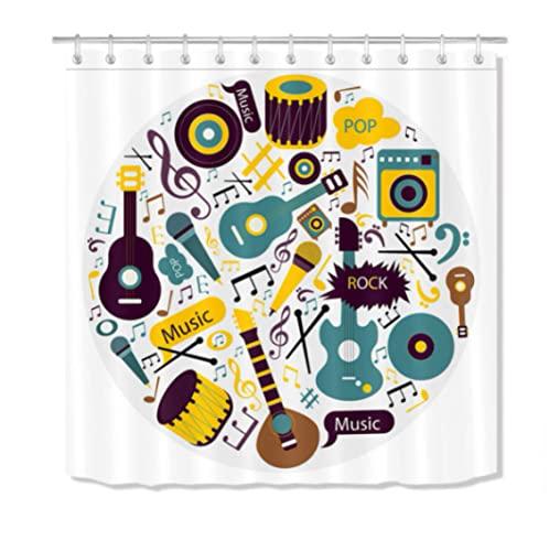 Musik Festival Instrument Stoff Duschvorhang Set Badezimmerdekor mit 12 Haken