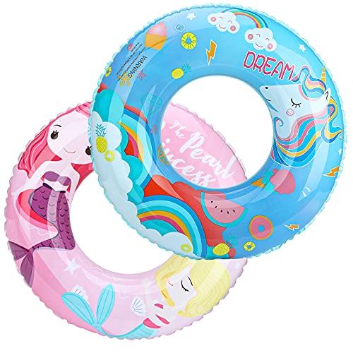 MoKo Schwimmring, 2 Pack Aufblasbare Schwimmringe Luftmatratze Schwimmreifen, Sommer Schwimmende Bett Schwimmhilfe Wasserspielzeug für Erwachsene Kinder - Meerjungfrau/Einhorn Muster