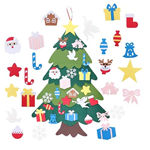Felt Christmas Tree Set, Christmas Tree for Todders DIY Felt Tree with Ornaments for Kids Door Wall Hanging Decoration (Multicolor, 3527.3 in)