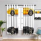 Vintage Premium Cortinas opacas retro nostálgicos coches auto motor vehículo estilo de vida inspirado diseño artístico fácil de instalar tierra amarillo negro 63 x 72 pulgadas