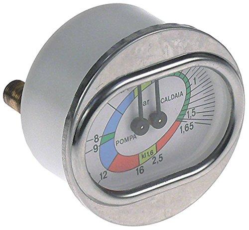 Rancilio manometer voor espressomachine met dubbele schaal 0-2,5/0-16 bar ø 70 mm 1/8' dubbele schaal 1/8'