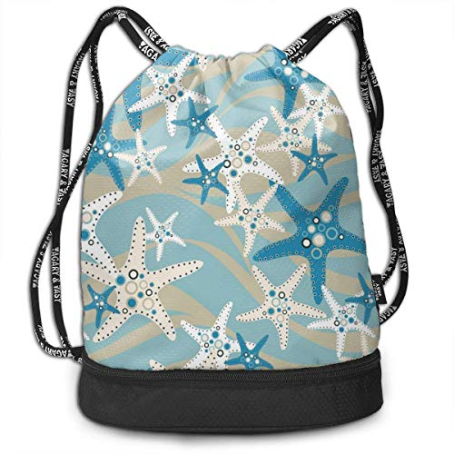 XCNGG Kordelzug Rucksack, schöne Starfish Print Sport Travel Gym Bundle Rucksack Tasche
