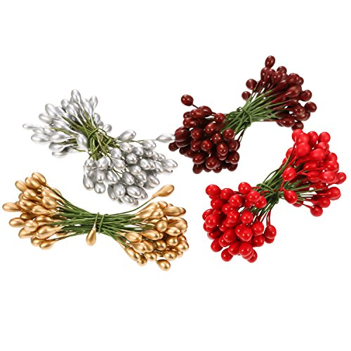 BBTO 400 Pieces Multicolor Artificial Holly Berries Christmas Fake Fruit Berries on 200 Pieces Wire Stems for Christmas Tree Decorations Wreath Craft Use Wedding Party Favor
