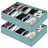 Under Bed Shoe Organizer, Shoes Storage Containers Box (2 Pack Fits 24 Pairs) with Sturdy and Breathable Materials for Sneakers,Clothes, Great Space Saver for Your Closet, Blue Lantern Pattern