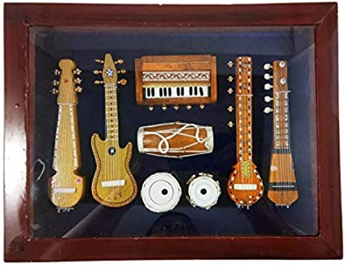 India Meets India Wall Hanging 7 Miniature Indian Musical Instruments Sheesham Wooden Showpieces 13x10x3 Inch Brown