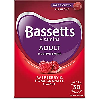 Bassetts Adult, Raspberry and Pomegranate Flavour, One A Day Soft and Chewy Multivitamin, 30 Pastilles