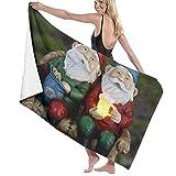 Niedliches Gartenzwerg-Modell, Strandtuch, Decke, saugfähiges Handtuch für Reisen, Schwimmen, Bad, Yoga, Fitnessstudio, Sport, 80 x 130 cm