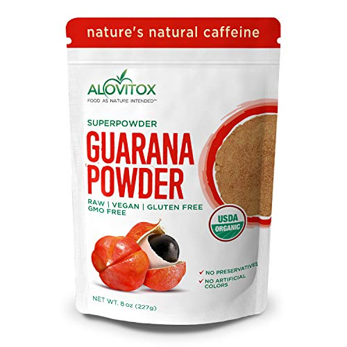 Alovitox Organic Guarana Seed Powder 8 Oz - Natural Caffeine Energizing Superfood - Raw, Vegan, Gluten Free - Low Calorie Addition to Shakes, Smoothies & Drinks