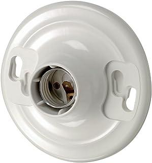 Leviton 8829-CW1 One-Piece Urea Outlet Box Mount, Incandescent Lampholder, White