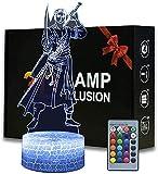 3D ilusión noche luz de una pieza mono D Luffy una lámpara de ilusión 3D con 16 colores lámpara con control remoto regalos de cumpleaños para niñas-una pieza Roronoa Zoro B