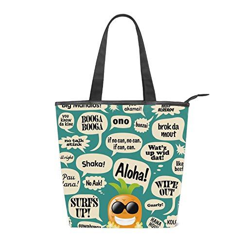 Women's Canvas Zipper Closure Handbag Hawaiian Pineapple Comic Bubbles Handbags Shoulder Lunch Tote Bag with Large Capacity Best Gifts for Teen Girls