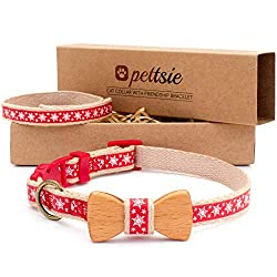 the pettsie Christmas cat collar with snowflakes and a wooden bowtie