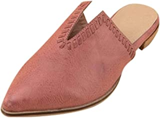 Driuankeji Mule Slippers for Womens Pointed Toe Flat Sandals Slides Backless Backless Slip On Loafers Flats
