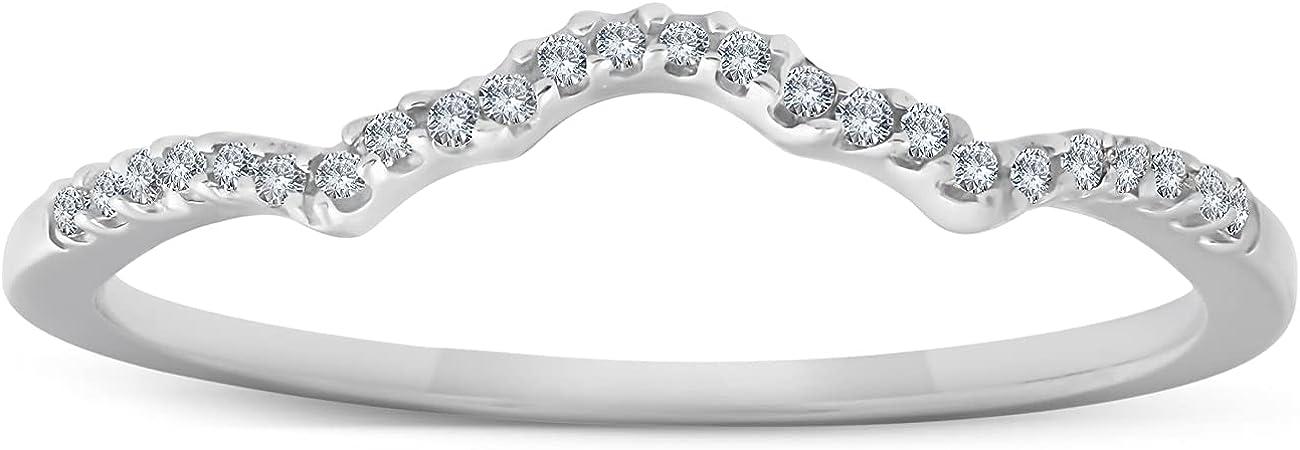 1/8 Ct Diamond Contoured Womens Wedding Anniversary Ring 14k White Gold Band