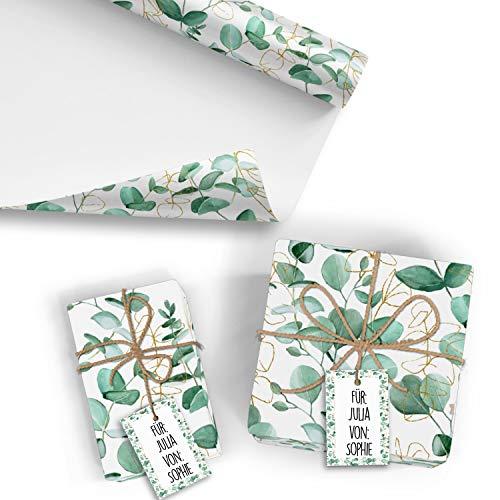 5x Geschenkpapier Motiv Eukalyptus - 5 große Bogen je 70 x 100 cm - verpackt als eine Rolle - inkl. Passende Geschenkanhänger - Umweltfreundliche Geschenkverpackung - Marke Neuser