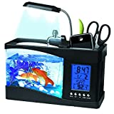 Mini Fish Tank, Multifunctional USB Rechargeable Fish Tank Desktop Electronic Aquarium with Clock Function LED Light Pen Holder for Office, Home