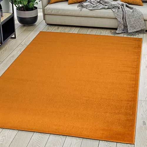 Carpeto Rugs Modern Teppich Einfarbig Muster - Flauschige Flachflor Teppiche für Wohnzimmer, Schlafzimmer, Kinderzimmer - Kurzflor in Versch. Größen Pastell Farben Orange 160 x 230 cm