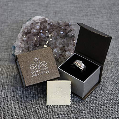 """Bague de Méditation Energy Stone """"Balance et Beauté"""" - Motif floral à 2 anneaux en bronze et laiton - 4"""
