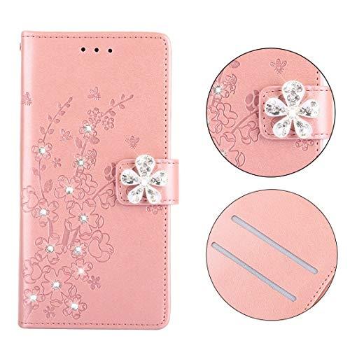 Xyamzhnn HNZZ, Ciruela patrón de Flor de la Caja de Cuero con Incrustaciones de Diamantes for Samsung Galaxy J5 y J530, con el sostenedor y Ranuras for Tarjetas (Ciruela de Oro Rosa)