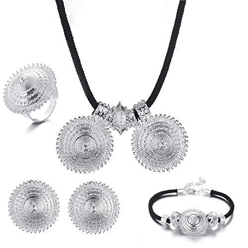 Collar colorido de plata etíope, pendientes colgantes, pulsera, anillo, moda, boda, conjunto de joyas de moda