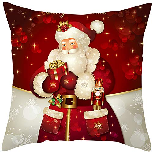 "JooMeryer Christmas Decoration Throw Pillow Covers,Merry Christmas Decorative Pillow Cases Soft Square Cushion Covers for Home Winter Xmas,Red Santa Claus & Gift,18"" x 18"""