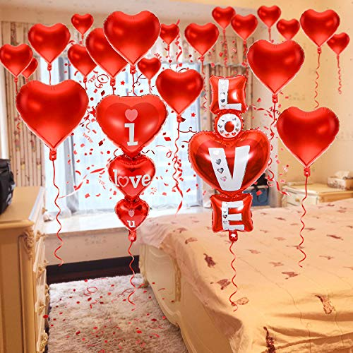 20 + 2 I Love You Balloons - Helium Supported - Love Balloons - Valentines Day Decorations and Gift Idea for Him or Her, Wedding Birthday Decorations | Valentine Balloons,Ribbon & Straw Included