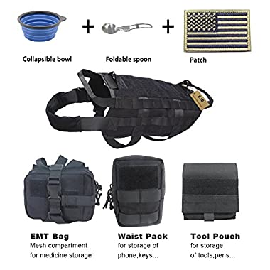 EJG Military Tactical Service Dog Training Vest Police Molle Dog Harness Camping Hiking Traveling Nylon Adjustable Coat with 3 Detachable Pouches For Medium & Large Dog (Black, L)