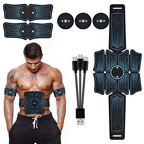 Yaosh Muskelstimulator, EMS Trainer High Strength USB aufladbare Hydrogelzusammensetzung 6 Modi Bauchmuskeln Paste Gürtel für Home Gym Workout mit Gel-Pads für Männer & Frauen