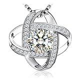 Collier, J.Rosée Argent 925, Bijoux Femme/Fille, 5A Zirconium cubique Blanc, Chaîne 45+5cm, Cadeau parfait'L'amour à...