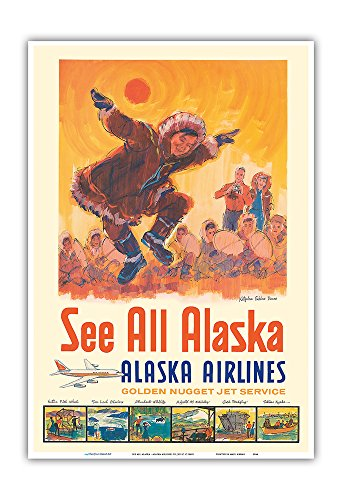 Voir tout Alaska - Alaska Airlines - Danse des esquimaux de Kotzebue - Affiche avion de Jess C. c.1960s - Impression d'art 33 x 48 cm