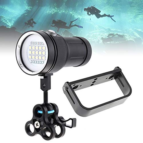 SecurityIng Scuba Diving Video Flashlight with White UV Red Light, 120 Degrees Wide Beam Angle Underwater Photography Fluorescence Dive Torch + Ball Clamp + Ball Joint + Handle(Battery Not Included)