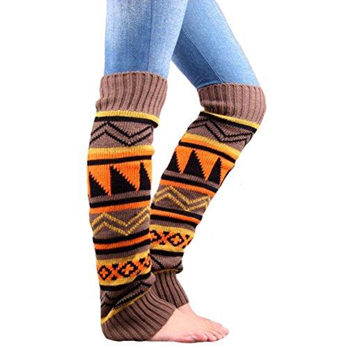 Pixnor Hiver Leg Warmers Knee High Tricot Chaussettes Toppers Femmes démarrer Poignets (Khaki)