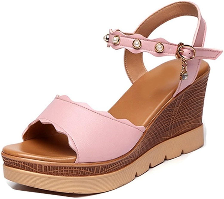 GIY Women's Pearl Strappy Wedge Sandals - Peep Toe Anti-Slip Summer Dress Wood Platform Sandals shoes