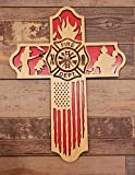 QPGVBP Croce Decorazione della Parete, Croce di Bandiera Pompiere Appeso in Legno Fatto a Mano, Regalo del Vigile del Fuoco per Lui, Decorazioni per la casa di Soggiorno Religioso di Design Antico