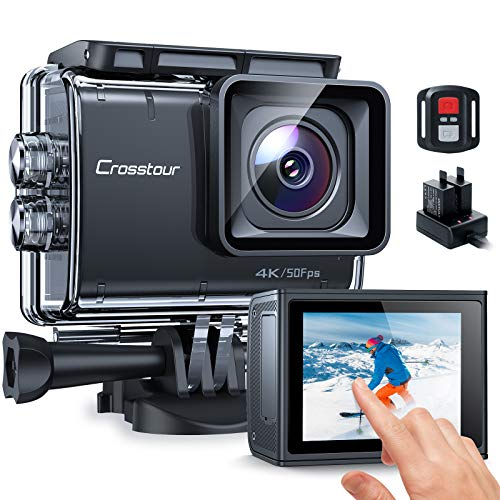 【2021 Upgrade】 Crosstour Native 4K50fps Action Camera Advanced Anti-Shake Touch Screen 20MP Underwater Camcorder (LDC, 40M Waterproof, WiFi, Remote Control, Battery Charger, Accessories Kit) CT9700