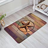 Rustic Vintage Texas Star Barn Colorful Wooden Doormat Door Mat Rug Outdoor/Indoor for Home Kitchen Bedroom