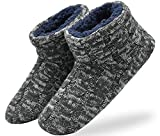 ONCAI Men's Slippers Handmade Woolen Yarn Indoor Slipper Boots Sherpa Lined Grey-Violet