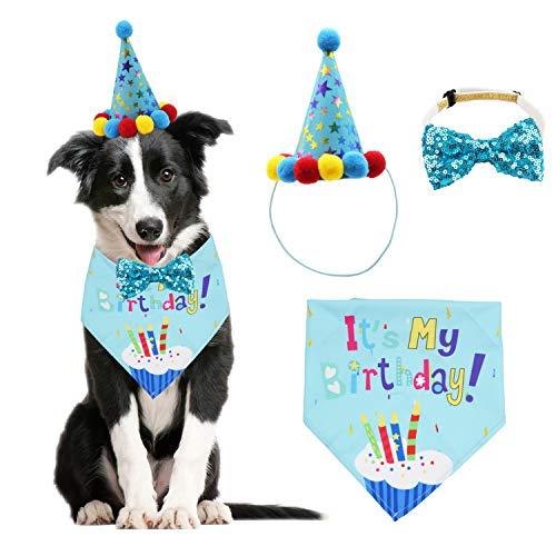 Dog Birthday Bandana Scarf and Dog Girl Boy Birthday Party Hat with Cute Dog Bow Tie Collar for...